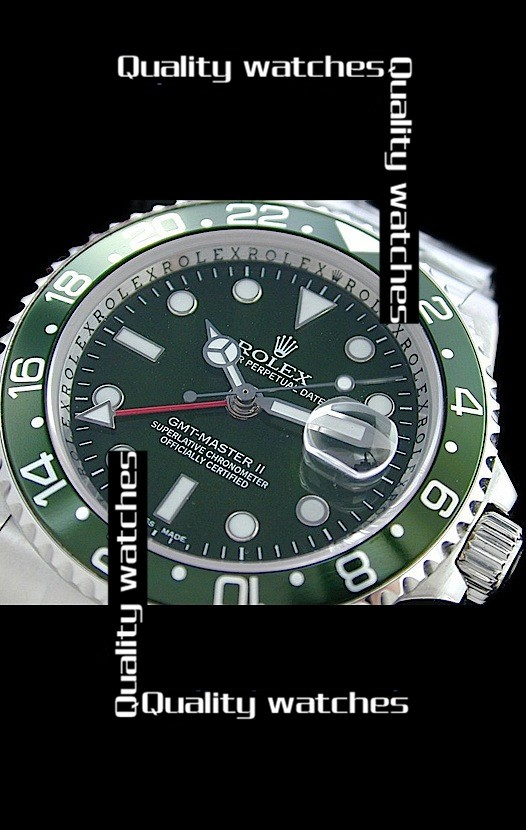 Swiss Rolex GMT-Master II Green dial and bezel Strap Automatic Replica Watch