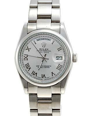 Rolex Oyster Day Date Replica Watches White Gold Silver dial roman numeral hour markers RLLPA8
