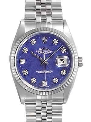 Rolex Datejust Replica Watches SS Blue Dial Diamond Hour Markers I