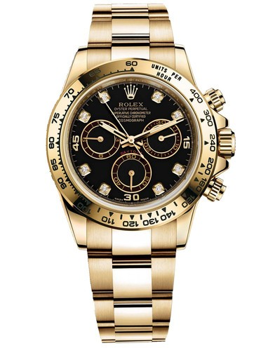 Rolex Cosmograph Daytona 18K Gold Black dial Diamond time markers Automatic Replica Watch
