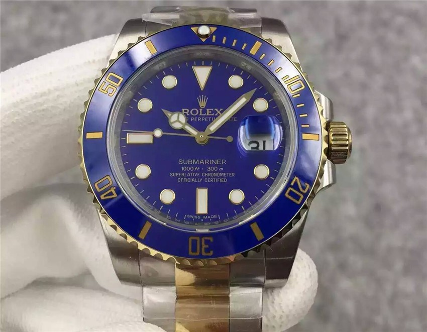 Swiss Rolex Submariner Blue Dial Two Toned Bracelet