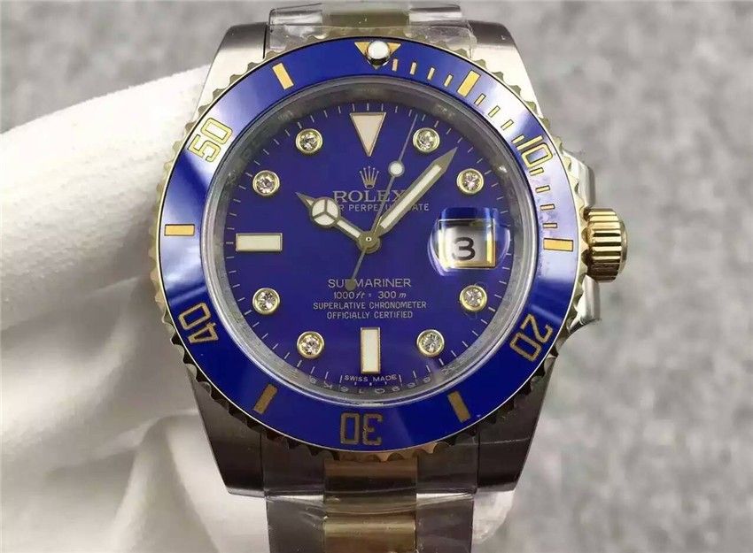 Rolex Submariner Swiss Cal.3135 Automatic Watch Diamonds Markers Blue Dial