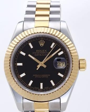 Rolex Datejust II Replica Watches Black Dial RX4107