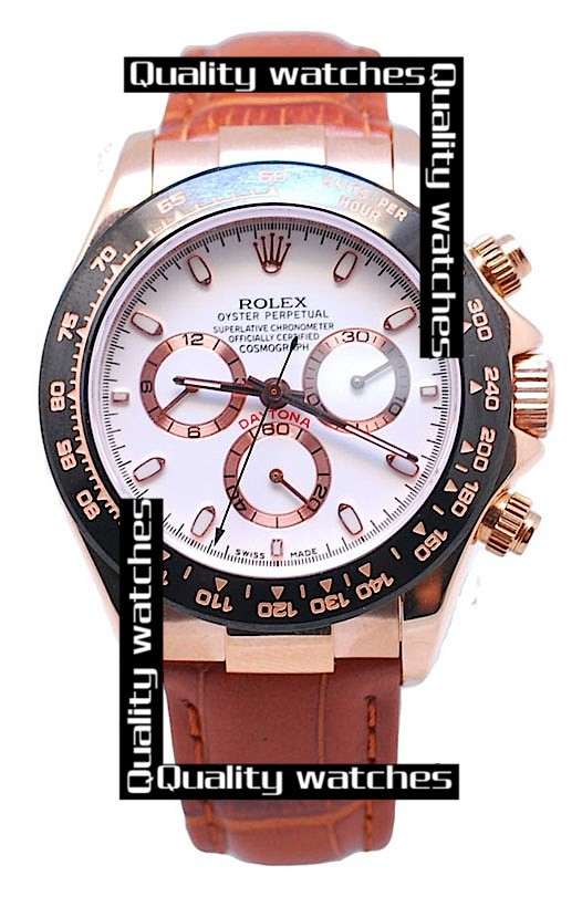 Swiss Rolex Cosmograph Daytona Rose Gold  Brown Leather Strap Automatic Replica Watch