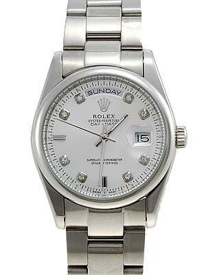 Rolex Oyster Day Date Replica Watches White Gold Silver dial diamond hour markers I RLLPA7