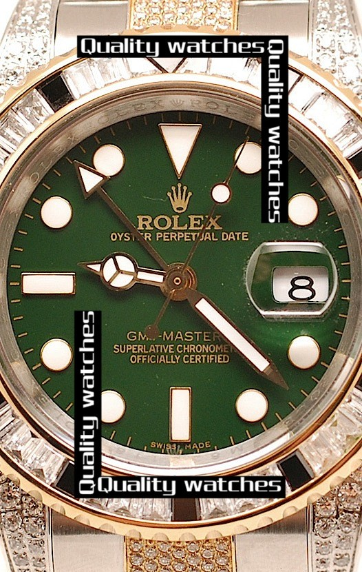 Swiss Rolex GMT-Master II 2011 Edition Diamonds case bezel and strap Green dial Automatic Replica Watch