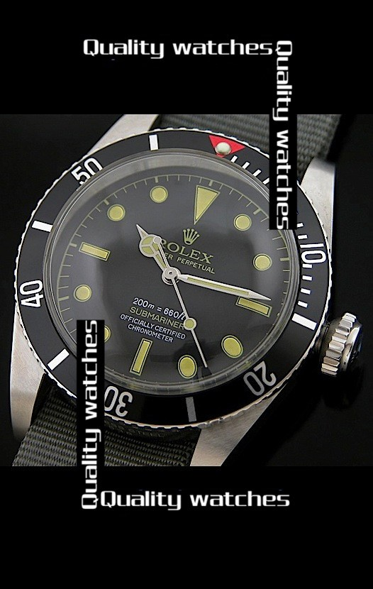 Rolex Submariner Domed Crystal Nylon strap Red top Automatic Replica Watch