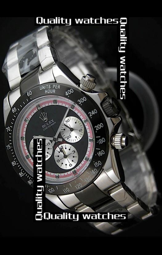 Swiss Rolex Cosmograph Daytona PVD Black dial Silver Sub-Dials  Automatic Replica Watch