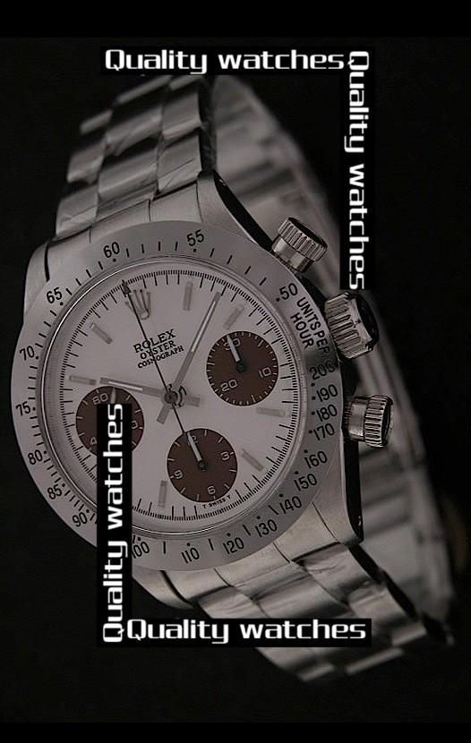 Swiss Rolex Cosmograph Daytona White dial Brown Subdials Automatic Replica Watch