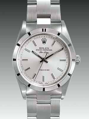 Rolex Air King Replica Watches SS Silver Dial Bar Hour markers I