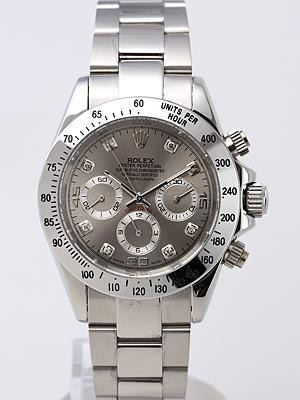 Rolex Daytona Replica Watches Gray Dial Diamond hour markers SS Band