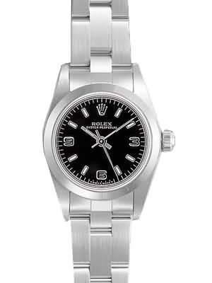 Rolex Oyster Perpetual Replica Watches SS Stainless Steel Black Dial Arabic Bar Hour markers