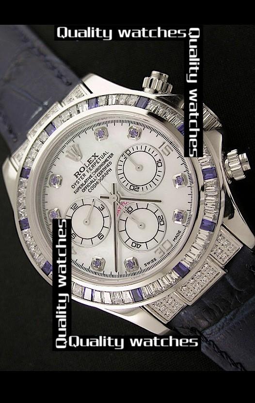 Swiss Rolex Cosmograph Daytona Diamonds Bezel and Time Markers Automatic Replica Watch