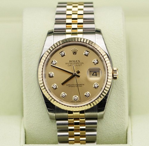 Swiss Rolex Datejust Mens 116233 Gold dial Men Automatic Replica Watch