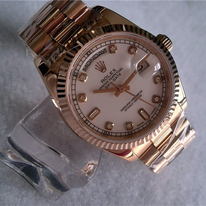 Rolex Day-Date Automatic Women Watch Rose Gold Diamonds Markers 36mm