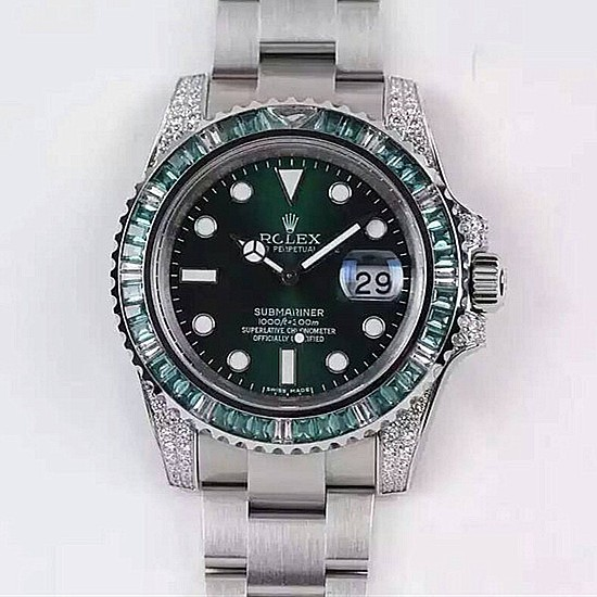 Rolex Submariner Date Swiss Automatic Watch Diamonds Bezel Green Dial
