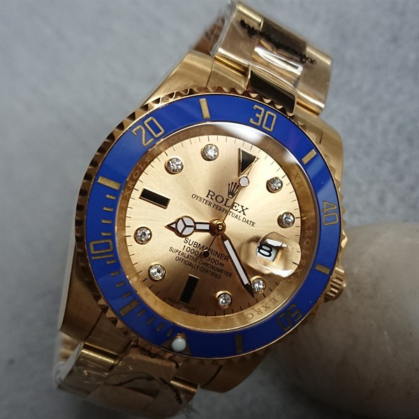 Rolex Submariner Replica Watch 18K Gold Case Gold Dial Diamonds Hour Markers