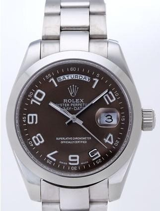 Rolex Day-Date II Replica Watches Brown Dial RX41168