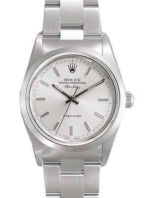 Rolex Air King  Replica Watches SS Silver Dial Bar Hour markers II