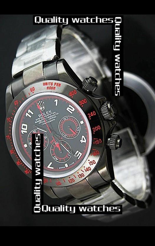 Swiss Rolex Cosmograph Daytona PVD coated Black Dial Silver Arabic  Automatic Replica Watch