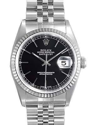 Rolex Datejust Replica Watches SS Black Dial Bar Hour Markers