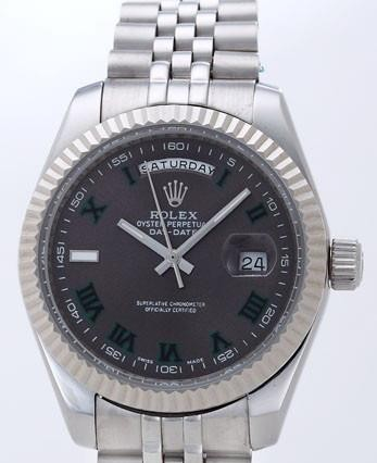 Rolex Day-Date II Replica Watches Black Dial RX41138