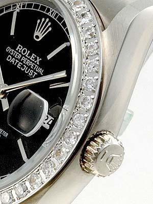 Rolex Datejust Replica Watches SS Black dial bar markers II