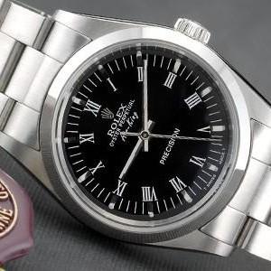 Swiss Rolex Air King Black Dial Roman Numerals Hour Markers Mens SWRX947