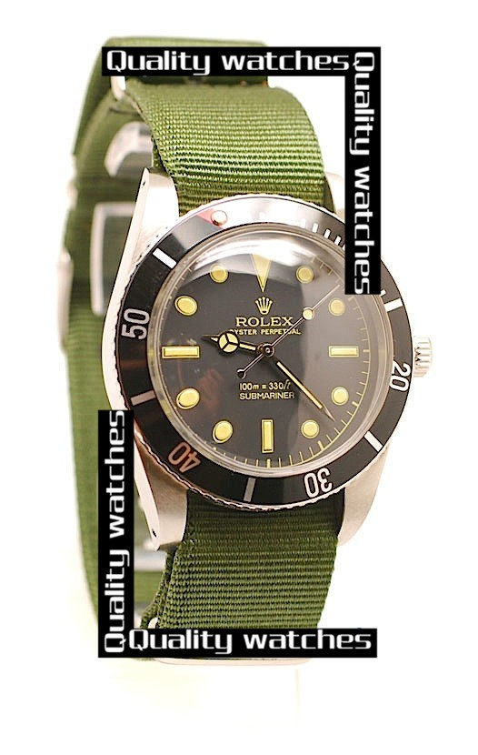Rolex Submariner Black dial Green Nylon strap Dot time markers Automatic Replica Watch
