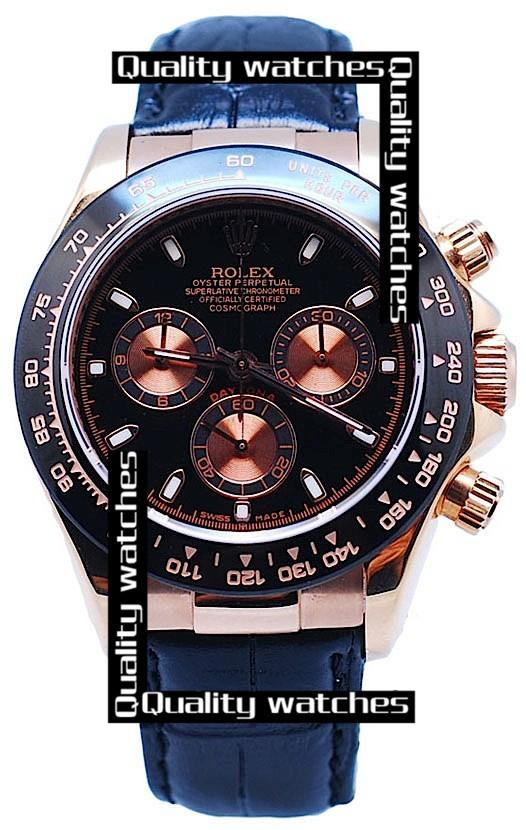 Swiss Rolex Cosmograph Daytona Rose Gold Black Dial Black Leather Strap Automatic Replica Watch