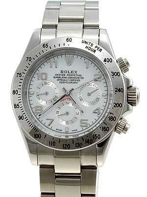 Rolex Daytona Replica Watches SS White dial arabic hour markers