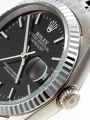 Rolex Datejust Replica Watches Black Dial Bar Hour markers II