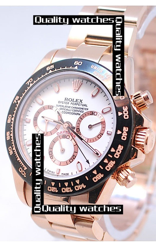 Rolex Cosmograph Daytona Rose Gold Stick Time Markers Automatic Replica Watch