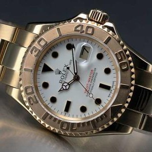 Swiss Rolex Yacht-Master Automatic Watch Yellow Gold White Dial