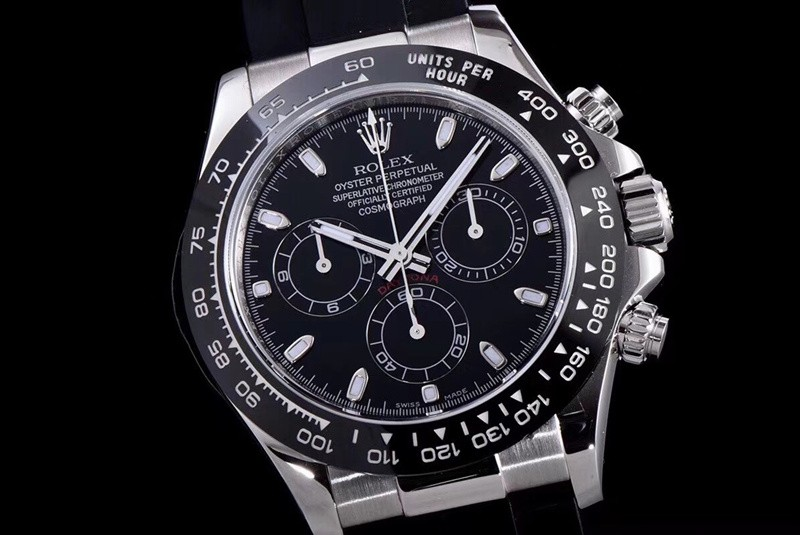 Rolex Daytona Swiss Cal.4130 Replica Watch Rubber Black Dial 40mm (Super Model)