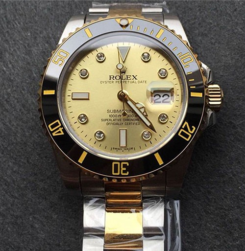 Rolex Submariner Swiss Cal.3135 Automatic Watch Diamonds Markers Gold Dial (Super Model)