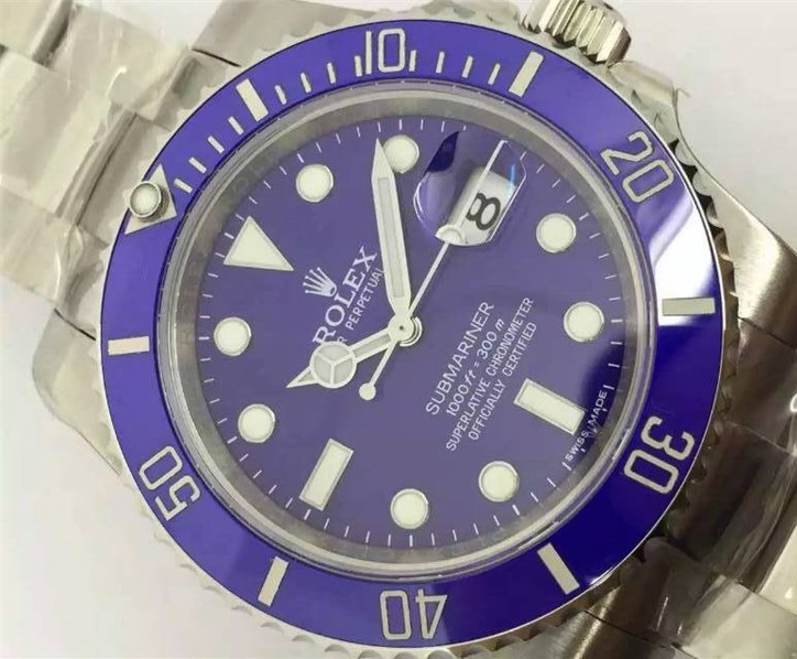 Rolex Submariner Replica Swiss Watch Blue Dial 40MM (High End)