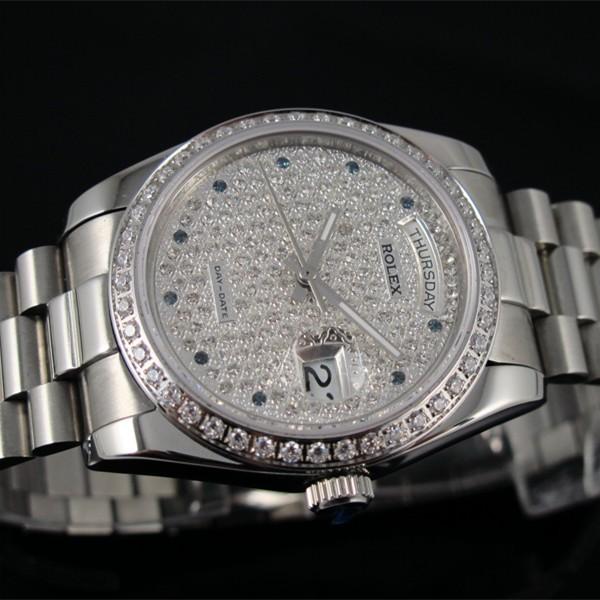 Swiss Rolex Day-Date Dense Diamonds dial and bezel Automatic Replica Watch