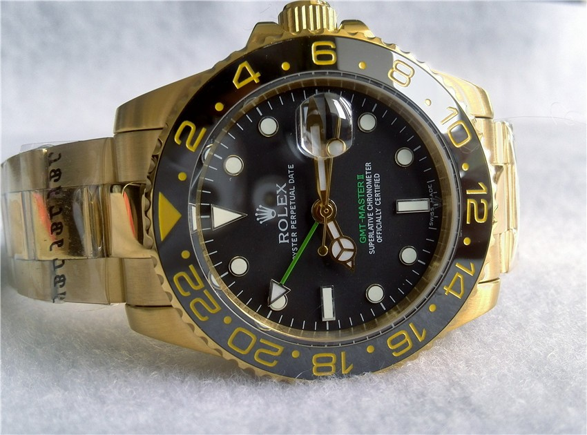 Swiss Rolex GMT-Master II 18K Gold Green Hand Black dial Automatic Replica Watch