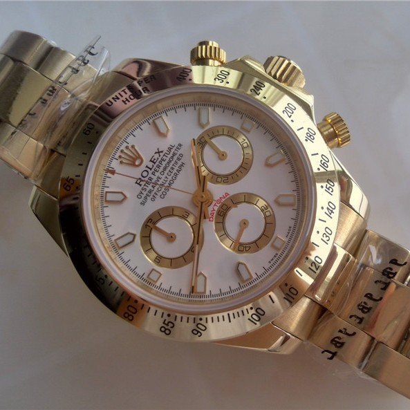 Swiss Rolex Daytona Replica Watches Full Yellow Gold White Dial (High End)