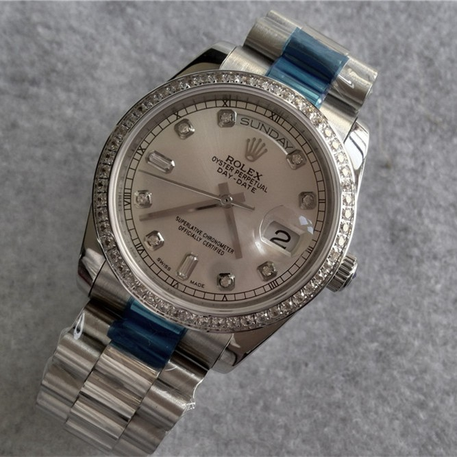 Rolex Day-Date Automatic Watch Silver Dial Diamonds Bezel