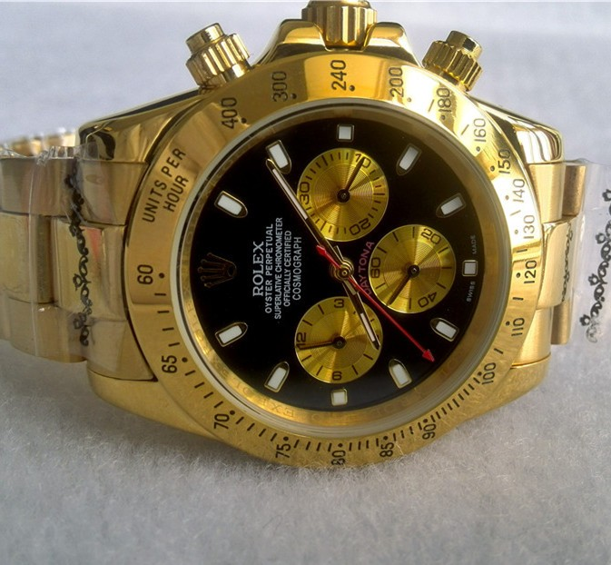 Swiss Rolex Cosmograph Daytona 18K Yellow Gold Stick Markers Automatic Replica Watch