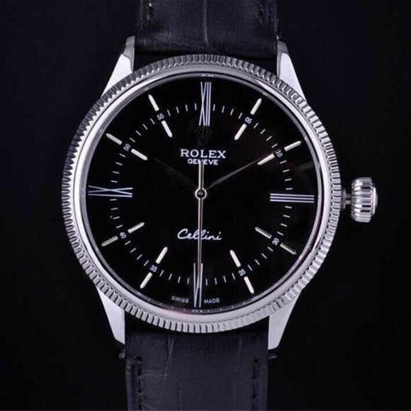 Swiss Rolex Cellini Time 50509 Black dial 18K White gold Men Automatic Replica Watch