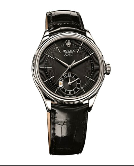 Swiss Rolex Cellini Dual Time 50529 18K White Gold Black dial Men Automatic Replica Watch