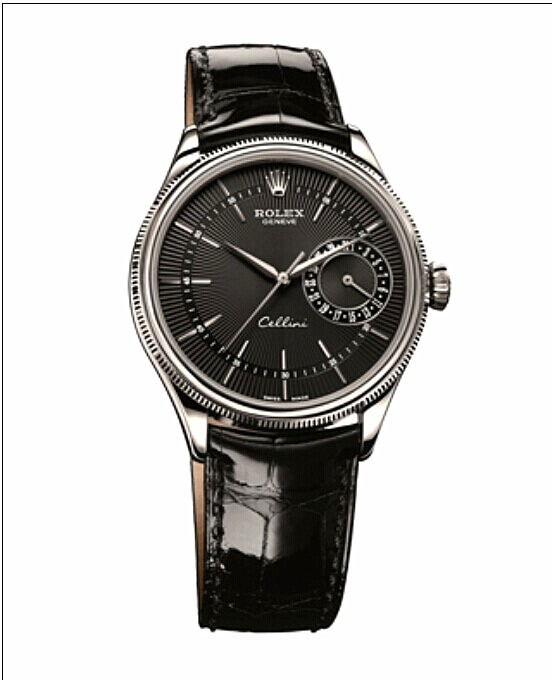 Swiss Rolex Cellini Date Automatic Watch Black Dial Black Leather Strap