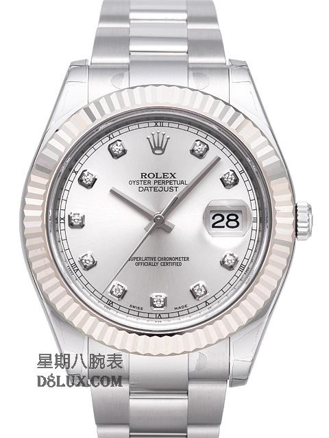 Swiss Rolex Datejust II Mens 116334 Silver dial Diamond time markers Automatic Replica Watch