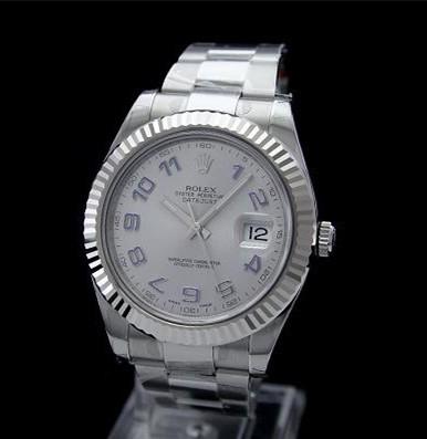 Swiss Rolex Datejust II Mens 116334 Silver dial Blue Arabic numerals Automatic Replica Watch
