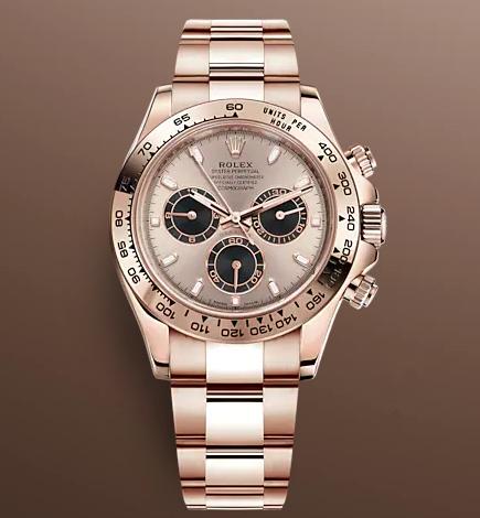 Replica Rolex Daytona Swiss Watches 116505-0016 Rose Gold Dial 40mm(High End)