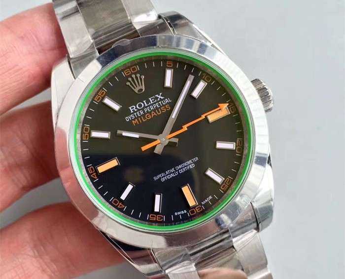 Rolex Milgauss Swiss Replica Watch 116400GV-0001 Black Dial Super Model)
