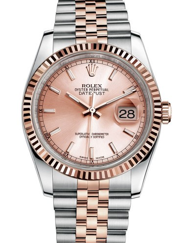 Replica Rolex Datejust Swiss Watches 116231-0062 Pink Gold Dial 36mm(High End)